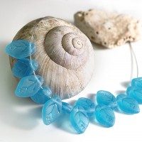 Czech Glass Beads Leaves Carribean Blue Matt, 7х12 mm, 10 pcs.