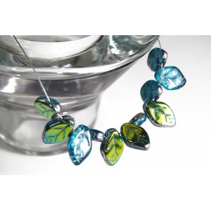 Czech Glass Beads Leaves Carribean Blue with Vitrail Coating, 7х12 mm, 10 pcs.