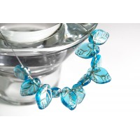 Czech Glass Beads Leaves Carribean Blue with Golden Veins, 7х12 mm, 10 pcs.