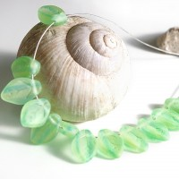 Czech Glass Beads Leaves Green Blue Matt, 7х12 mm, 20 pcs.