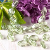 Czech Glass Pressed Twisted Beads Clear with Silver Green Coating, 7х10 mm, 10 pcs.