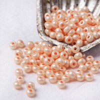 311 Preciosa Czech Seed Beads Chalk Lustered and Terra Pearl Opaque Light Peach -46389, 6/0 mm, 50 pcs