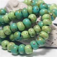 311 Mix of Picasso Preciosa Seed Beads 'Green' - 3/0, 20 gr