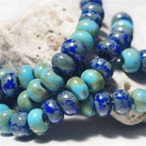 311 Mix of Picasso Preciosa Seed Beads 'Sea Blue' - 3/0, 20 gr