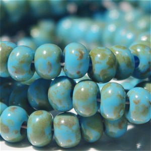 Preciosa Czech Seed Beads, Picasso Turquoise Blue, 3/0, 20 gr