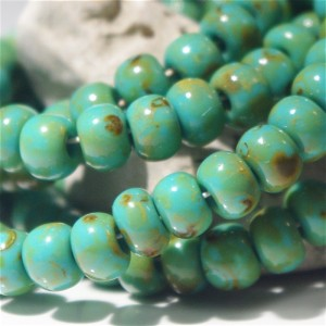 311 Preciosa Czech Seed Beads Picasso Turquoise Green - 3/0, 20 gr