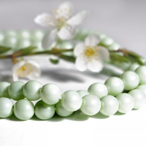 Czech Glass Faux Pearl Round Pastel Geen Beads - 8mm, 20 pcs