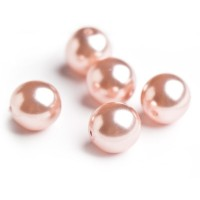 Czech Glass Faux Pearl Round Gloss Light Pink Beads - 8 mm, 20 pcs