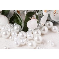 Czech Glass Faux Pearl Round Beads - White Mix, 13 gr