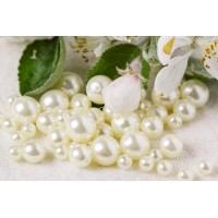Czech Glass Faux Pearl Round Beads - White Milk Mix, 13 gr