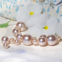 Czech Glass Faux Pearl Round Beads - Light Peach Mix, 13 gr