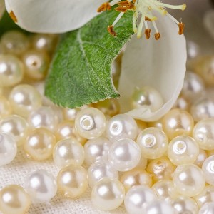 Czech Glass Faux Pearl Round Beads - White, Milk White and Champagne Mix, 4 mm