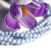 Czech Glass Faux Pearl Round Pastel Blue Beads - 4mm, 60 pcs.