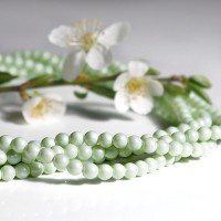 Czech Glass Faux Pearl Round Pastel Green Beads - 4mm, 60 pcs.