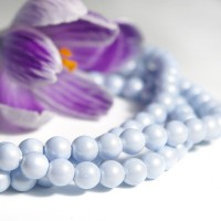 Czech Glass Faux Pearl Round Pastel Blue Beads - 6mm, 80 pcs