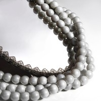 Czech Glass Faux Pearl Round Pastel Gray Beads - 6 mm, 80 pcs