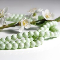 Czech Glass Faux Pearl Round Pastel Green Beads - 6mm, 40 pcs