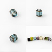 Czech Glass Lampwork Cylinder Bead, Light Turquoise, 10 mm