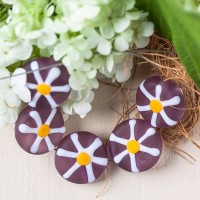 Lampwork flower bead - amethyst with white flower, 15 mm