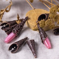 Filigree bead cones, copper plated, 30х10 mm, 2 pcs