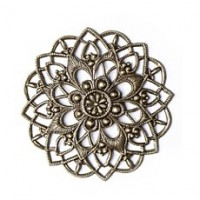 Filigree flower, antique brass, 35х35 mm, 1 pcs