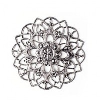 Filigree flower, silver plated, 35х35 mm, 1 pcs