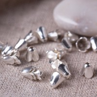 Bell bead caps, silver colored, 7 mm, 10 pcs