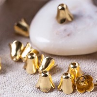 Bell bead caps, gold colored, 9 mm, 10 pcs