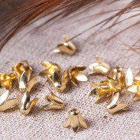 Bead caps, gold colored, 6х6 mm, 10 pcs