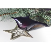 Hand blown deep purple glass bird, about 11-12 cm