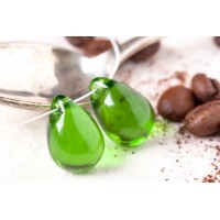 Czech Glass Tear Drop Beads Peridot Green, 18 mm, 6 pcs.
