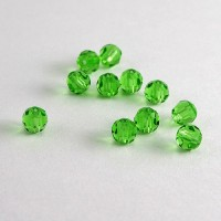 Machine Cut Crystal PRECIOSA Beads - PERIDOT, 4 mm
