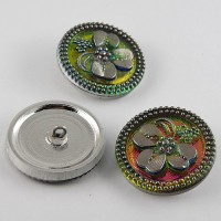 Pink glass buttons with antique silver coating, 27 mm diameter, 2,5 thickness.