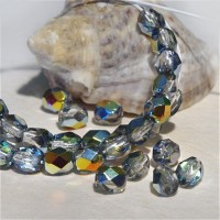 Czech fire polished beads, clear crystal with rainbow coating MAREA, 4 mm, 60 pcs.