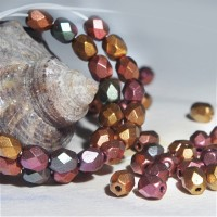 Czech fire polished beads with COPPER and BRASS coating, 4 mm, 60 pcs.