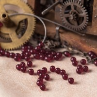 Czech Glass Round Garnet Red Beads, 4 mm, 120 pcs.