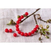 Czech Glass Druk Beads, Opaque Red, 4 mm, 120 pcs.