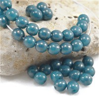 Czech Glass Round Opaque Jeans Beads with Picasso Coating, 4 mm, 120 pcs.