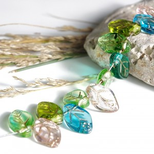 Czech Glass Beads Leaves Mix of Leaves with Golden Venues, 7х12 mm, 45 pcs.
