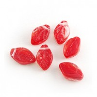 Czech Glass Beads Leaves Opaque Red, 7х12 mm, 20 pcs.