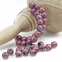 Czech Glass Round Beads of Cooper-Purple Shades, 4mm, 120 pcs.