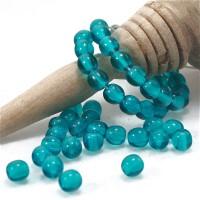 Czech Glass Round Turquoise Dark Blue Beads, 4 mm, 120 pcs.