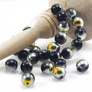Czech Glass Round Opaque Black Picasso Beads, 6 mm, 80 pcs.