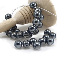 Czech Glass Round Opaque Black White Luster Beads, 6 mm, 80 pcs.