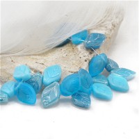 Czech Glass Beads Leaves Turquoise Blue Mix, 7х12 mm, 50 pcs.