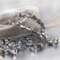 Czech fire polished clear beads with golden coating, 4mm, 60 pcs.