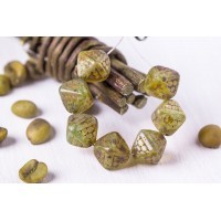 Czech Glass Beads Bicones OPAL TRAVERTINE 12mm, 12 pcs