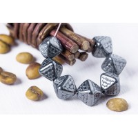 Czech Glass Beads Bicones JET HEMATITE 12mm, 12 pcs