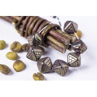Czech Glass Beads Bicones JET SENEGAL 12mm, 12 pcs