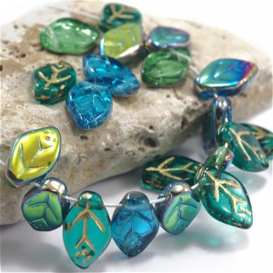 Czech Glass Beads Leaves Mix of Light Green, Pink and Turquoise, 7х12 mm, 45 pcs.